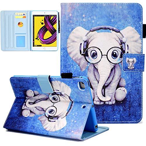 KEROM iPad 6th Generation Case, iPad 5th Generation Case, iPad Air 2 Case, iPad Air Case, PU Leather Stand Folio Case with Auto Sleep Wake for iPad 9.7 2018 2017/iPad Air 2/iPad Air 1 -Elephant