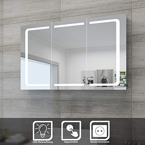 SONNI LED Spiegelschrank 105 x 65 x 13 cm Badezimmer-Spiegel Wandschrank Bad-Schrank mit Beleuchtung und Steckdose