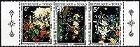 花の絵 画(クリスマス加刷、銀) チャド1972年3種連刷完