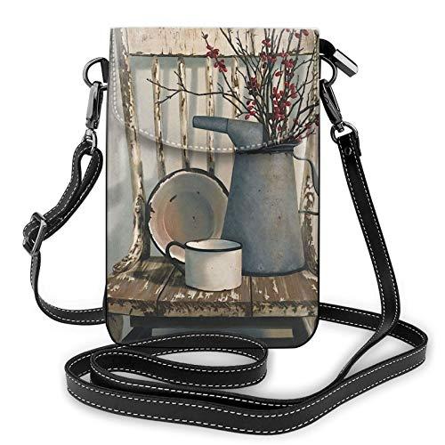 Monedero de cuero ligero para teléfono celular, regadera en la silla, pequeñas bolsas cruzadas, bolsa de hombro, cartera para mujer, color Negro, talla Talla única