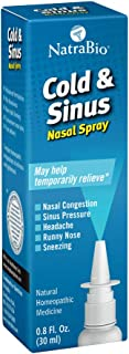 NatraBio Cold & Sinus Nasal Spray | Homeopathic for Temporary Relief of Cold & Sinus Symptoms, Congestion, Pressure, Headache & Runny Nose | 0.8oz