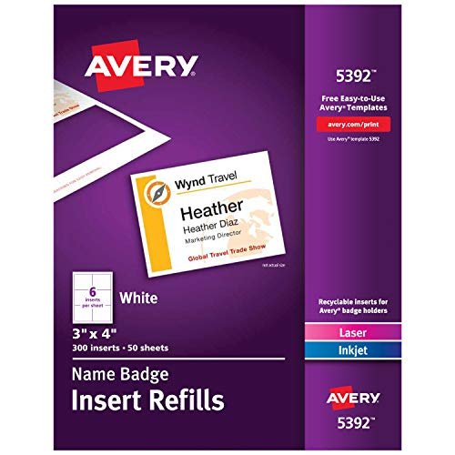 Avery Name Badge Inserts, Print or Write, 3 x 4 Inch, 300 Card Stock Refills (5392), White