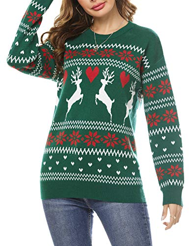 Doaraha Jersey Suéter de Navidad para Mujer Manga Larga Suéteres Invierno de Cuello Redondo Ugly Christmas Sweater Pullover de Punto Jerséis Blusa Navideños Regalo de Año (Verde, L)