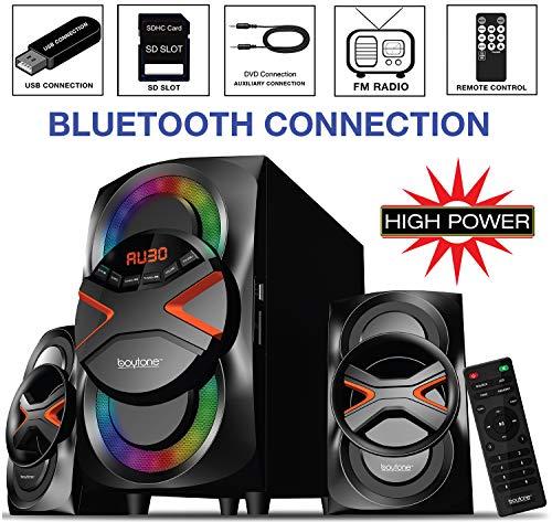Boytone BT-626F, 2.1 Bluetooth Powerful Home Audio Speaker System, with FM Radio, SD Slot, USB Ports, Digital Playback, 54 Watts, Disco Lights, Remote Control, for Smartphone, Tablet. 110/220V