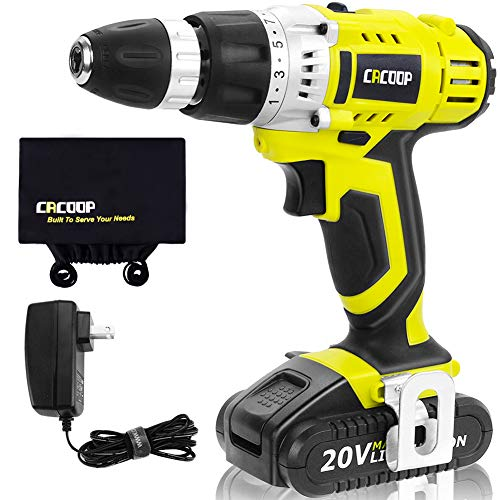CACOOP Cordless Drill Driver 20V Power Drill Kit, Electric Drill with 1 pc 1500mAh Lithium-ion Battery, Charger and Storage Bag