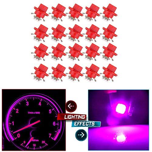 cciyu 20Pcs Pink/Purple B8.4D 1SMD 5050 LED Instrument Cluster Dash Indicator Light Bulb