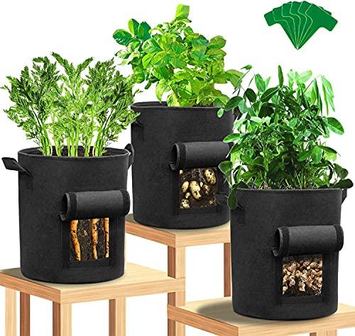 LIAOXIONG 3 sacchetti di sacchetti di piante di patate, finestra / velcro / manico, tessuto non tessuto resistente, contenitore per piante da giardino per patate, pomodori e carote (Nero)