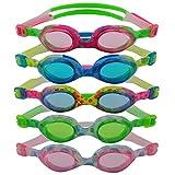 #DoYourSwimming »Flippo« Kinder-Schwimmbrille, 100% UV-Schutz + Antibeschlag. Starkes Silikonband + stabile Box. TOP-MARKEN-QUALITÄT! AF-1700S, rosa/weiss