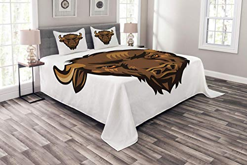 DayToy Bison Bedspread, Furry and Horned Wild Buffalo Head Portrait Illustration on Plain Backdrop, Decorative Quilted 3 Piece Coverlet Set with 2 Pillow Shams, 177X218CM