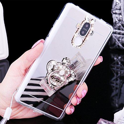 Coque Huawei P9,Etui Huawei P9,ikasus [Papillon Bague Support] Placcatura brillant strass diamant Miroir Silicone Gel TPU Souple Housse de Protection Case Etui Coque pour Huawei P9,Couronne d'argent