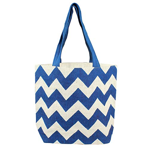 Lowest Prices! Cathy's Concepts 2143BL Navy Chevron Jute Tote