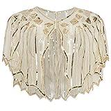 ArtiDeco Pañuelo para mujer, estola para vestido de noche de los años 20, retro, bufanda, boda, fiesta, novia, bufanda, disfraz, accesorios beige Talla única