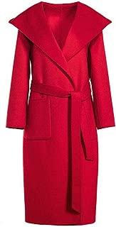 Winter warm coat woolen coat female double-sided water ripple cashmere tie hooded loose coat Winter Long Casual Turtleneck Jacket