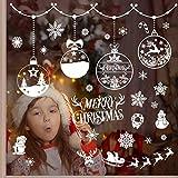 VOSAREA - 6 Hojas de Pegatinas para Ventana de Navidad de PVC sin Pegamento, Pegatinas de Cristal de Navidad, decoración de Fiesta para la Vida de los Muebles de salón