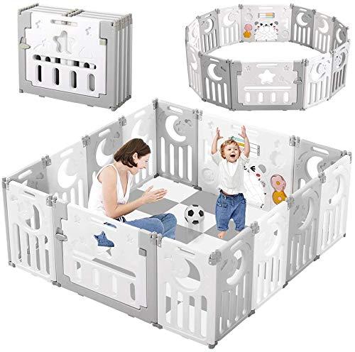 Dripex Parque para Bebés, Corralito Bebe, Centro de Actividades para Niños, Patio de Juegos de Seguridad Hogar Interior Exterior de 0 a 6 Años, Plegable 12 + 2 paneles, Gris-Blanco