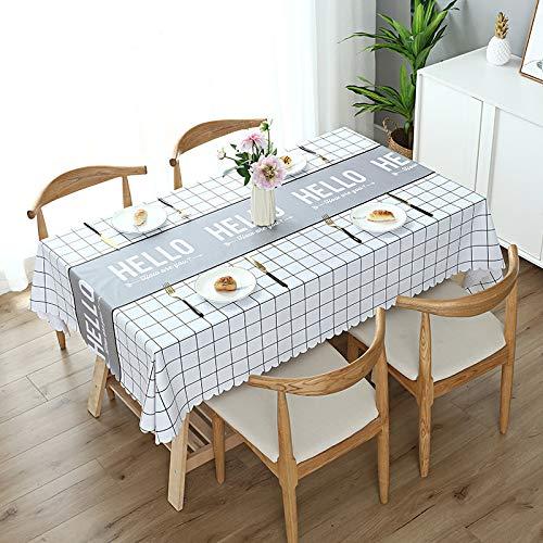 JIALIANG PVC Tischdecke Plastik Quadrat für Küche Esstisch Kunststoff Wischtuchreinigung Tischdecke für Indoor Outdoor Innen-/Außen-/Küchen-/Gartentischdecken grau,120cm