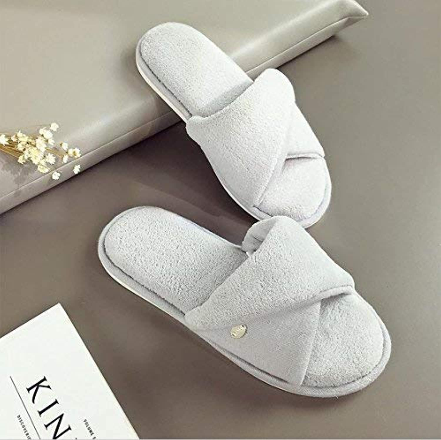 JaHGDU Ladies Slippers Slip at Home to Keep Warm in Autumn and Winter Leisure Solid color Super Soft Casual Breathable Cotton Slippers