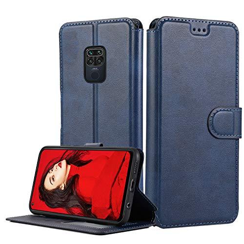 LeYi Hülle für Xiaomi Redmi Note 9 / Redmi 10X 4G Mit HD Folie Schutzfolie,Leder Handyhülle Stoßfest Wallet Magnet Schutzhülle Tasche Slim Silikon Bumper TPU Hülle für Handy Redmi Note 9 Matt Blau