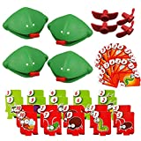 Catch Cards Tongue Game,Quick Tongue Out Lizard Card Toy Catch Bugs Game Desktop Games Board Games for Kids (4 PCS)