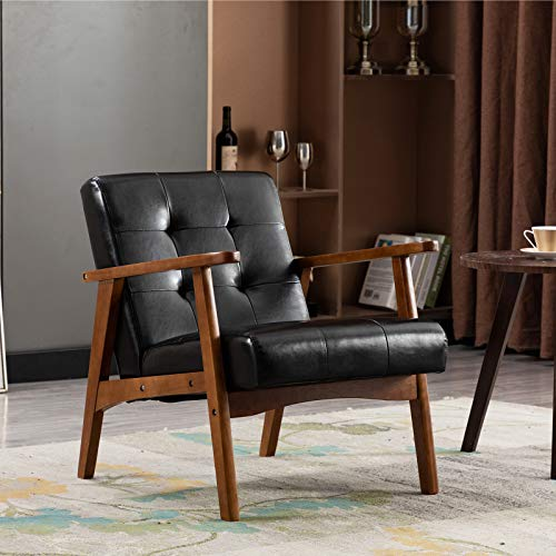 Artechworks Retro PU Leather Upholstered Lounge Wooden Arm Chair for Living Room Bedroom Apartment Modern Black