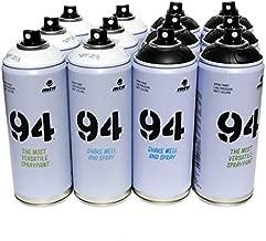 Montana MTN 94 Spray Paint 400ml Grey Scale Colors Set of 12 Graffiti Street Art Mural Aerosol Paint Main Set 1 (Black & White)