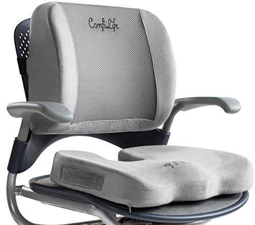 ComfiLife Seat Cushion & Lumbar Support Bundle - Office Chair & Car Seat Cushion for Back Pain & Sciatica Relief - 100% Memory Foam
