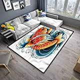 Rug Pad Koi Fish Rugs for Dorm Home Kids Tattoo Style Japanese Wave (5'x31')