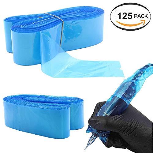 纹身夹线器盖笔机包 - 博昌125pcs一次性纹身盒机涵盖了纹身机枪配件夹线套包过滤笔式袋(蓝)
