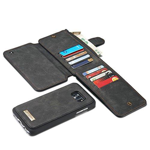 Para Samsung Galaxy S7Edge 2 en 1 Funda de billetera, 13 Tarjetas Slot Magnético desmontable FOLIO FOLIO FOLICITURO TITULAR TARRÍTE DE TARJETA DE TARJETA DE CARNE DE CUERNO CON FUNDO DE TELEPÓN DE TPU