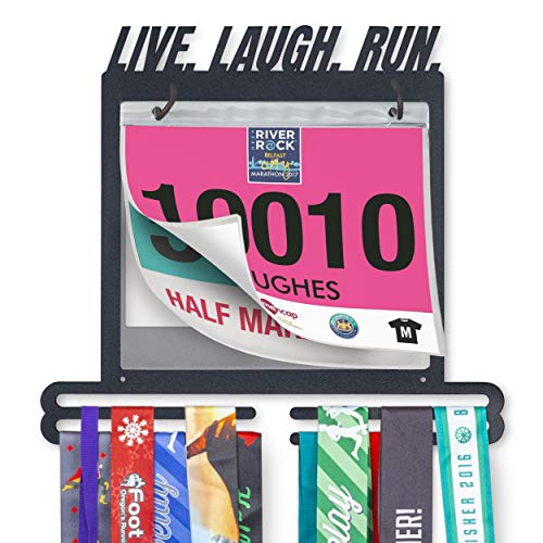 Live. Laugh. Run. Race Bib and Medal Display - Race Medal Holder for Runners and Hanger for Race Bibs, Photos, and Memorabilia - Hold up to 30 Race Medals in Your Holder and Display up to 50 Race Bib