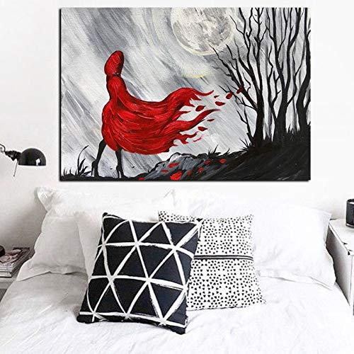 wZUN Cartel de Pintura al óleo de Bosque de niña de Pelo Largo Rojo decoración de Imagen de Pared decoración impresión carácter Abstracto en Lienzo 60x90 Sin Marco