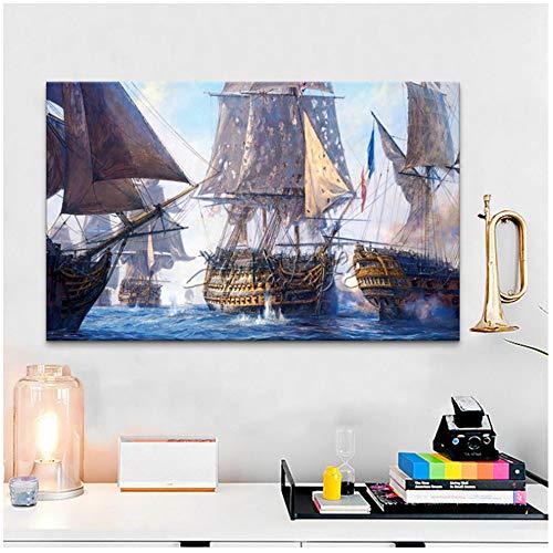 Cuadro en lienzo Barco Naval Batalla Pintura al óleo Imagen del arte Impreso en lienzo-60x100cm Sin marco