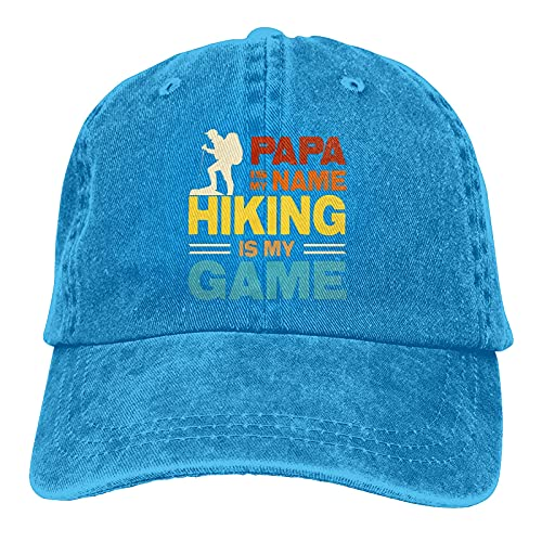 Papa is My Name Hiking is My Game Gorra de béisbol de algodón de perfil bajo lavado para papá