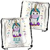 Mochila Saco Unicornio Personalizada con Nombre. Mochila de Cuerdas Personalizada. Vuelta al Cole niño niña. Varios Diseños. Unicornio
