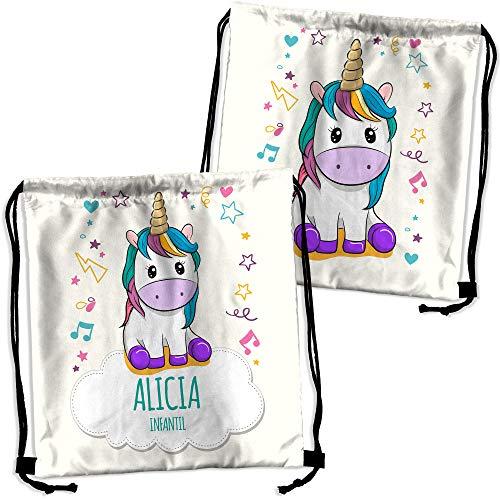 Mochila Saco Unicornio Personalizada con Nombre. Regalo Personalizado para niño y niña. Mochila de Cuerdas. Vuelta al Cole. Varios Diseños. Unicornio