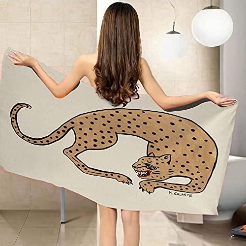 JKRFV Toalla de Playa de Microfibra Leopardo Animal 3D Personalidad Creativa diseño de Moda Toalla Deportiva Secado Rápido Absorbente para Viajes Playa Camping 80 x 130 cm