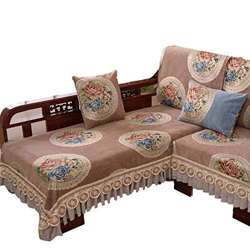 Funda de sofá Bordada en Forma de L,seccional,esquinero,Chaise Longue,Fundas para sofá,Funda de sofá Reversible,para Mascotas,niños,niños,Perros,Gatos,café,70x240cm