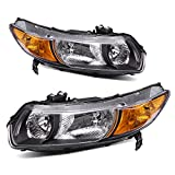 AUTOSAVER88 Headlight Assembly Compatible with 2006-2011 Honda Civic Coupe OE Style Replacement Headlamps Black Housing with Amber Park Lens