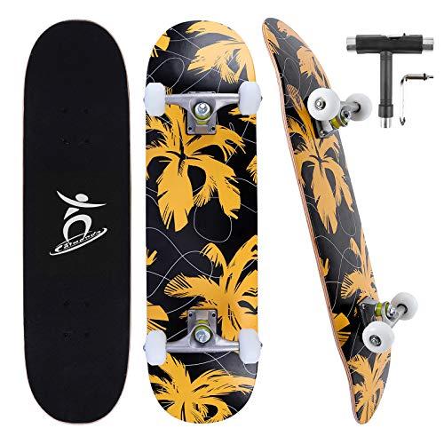 Colmanda Skateboard Adulto Completo 31 Pulgadas, Skateboard Pro 7 Capas Arce Canadiense con rodamientos ABEC-7, Longboard Monopatín, Skateboard para Principiantes, Adolescentes, Adultos (Hoja-A)