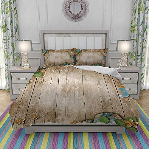 MOONLIT Duvet Cover Set-Bedding,Flowers Pearls and Lace on Rustic Wooden Planks Background Vintage Style,Quilt Cover Bedlinen-Microfibre 140x200cm with 2 Pillowcase 50x80cm
