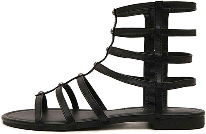 Fancyww Women's Ankle Strap Gladiator Flat Sandal Social Club