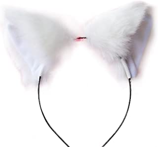 MEXUD Orecchiette Party's Cat Fox Long Fur Ears Anime Neko Costume Hair Clip For Cosplay (White)