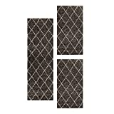 Carpetsale24 Alfombra Moderna de Pelo Alto Juego de Corredores de Cama Taupe 3 Piezas, Color:Taupe, Tamaño:2 x 60x110 + 1 x 80x150