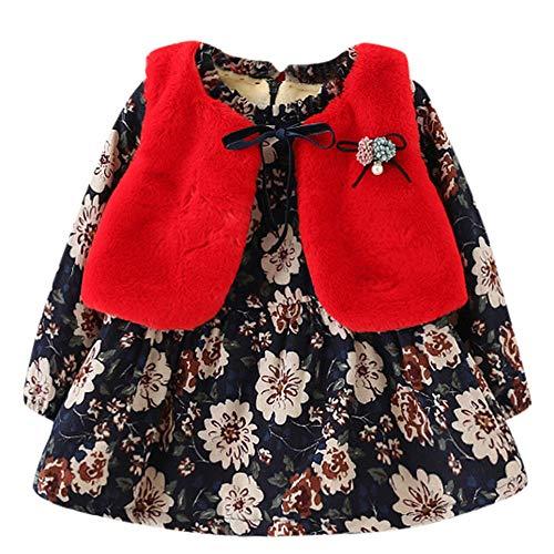 K-youth Abrigos Bebé, Ropa de Bebe Niña Recien Nacido Otoño Invierno Vestido de Princesa Caliente Fashion Más Terciopelo Ropa para Niña de Frio y Chaleco Conjunto de Ropa (Rojo, 0-6 Meses)