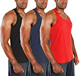 DEVOPS Men's 3 Pack Cool Dry Fit Y-Back Muscle Gym Training Tank Top Sleeveless (Small, Black/Charcoal/Red)