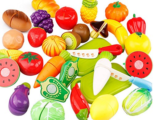 Hosaire 20 Piezas Corte de Juguetes de Frutas Hortalizas y Pan Juego de Plástico para Niños Juguetes Set de Alimentos de Corte Juguete del Bebé