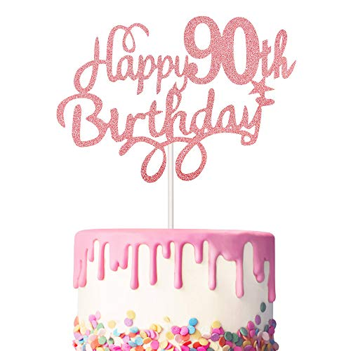 3 Pieces 90th Birthday Cake Toppers Happy 90th Birthday Cake Cupcake Topper Picks Glitter Cake Decoration for Birthday Party Cake Supplies (Rose Gold)