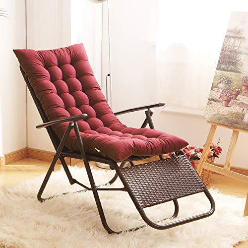 Uheng - Cojín de respaldo para silla mecedora con 6 tiras, acolchado grueso, sillón reclinable, para jardín, rojo vino, 49'x19'x3'