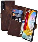 Suncase Book-Style Hülle kompatibel mit LG Velvet 5G Leder Tasche (Slim-Fit) Lederhülle Handytasche Schutzhülle Hülle mit 3 Kartenfächer in antik-Coffee