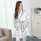 FMOGQ Conjunto De Pijamas para Mujer, Kimono + Pantalones 2 Piezas para Mujer 100% Camisón De Seda Pura Pijama Camisón Largo para Mujer Sexy Albornoz para Dormir Diseño De Kimono